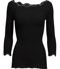 silk t-shirt boat neck regular w/vi t-shirts & tops long-sleeved zwart rosemunde