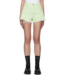 all-over logo print fray edge denim shorts