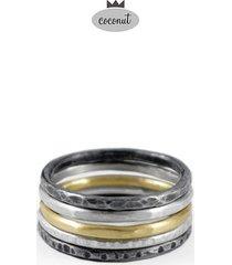 pierścionek texture - 5 obrączek srebro t5