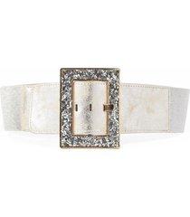 cinturon elastico hebilla forrada plata mailea