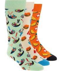 men's happy socks assorted 3-pack food lovers socks gift box, size one size - green