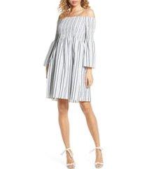 women's sam edelman metallic ticking stripe smocked off the shoulder dress