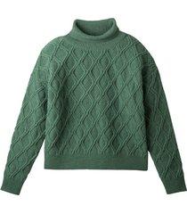 pullover uit scheerwol met rib-rolkraag, zeegras 44/46