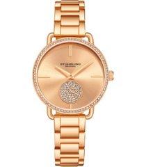 stuhrling women's rose gold stainless steel bracelet watch 38mm
