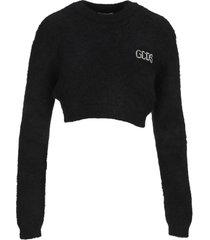 gcds crystal logo crop sweater