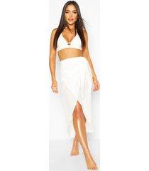 tie waist beach sarong, white