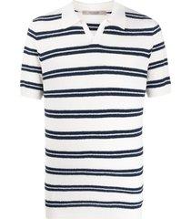 la fileria for d'aniello horizontal striped polo shirt - white