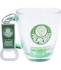 kit caneca de vidro+abridor de garrafas 370ml palmeiras