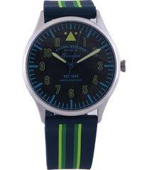reloj azul-verde-plateado fossil