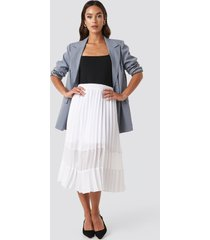 na-kd trend co-ord pleated panel midi skirt - white