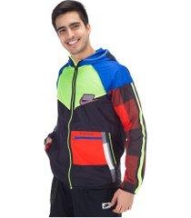 jaqueta corta-vento com capuz nike windrunner - masculina - preto/azul