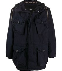 aspesi hooded mid-length parka - blue