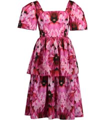 tiered orchid print dress