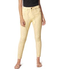 women's joe's the hi honey snakeskin print high waist crop skinny jeans, size 24 - yellow