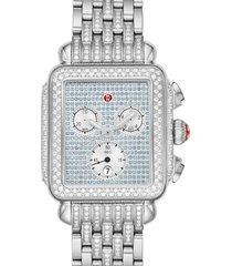 women's michele deco diamond chronograph watch head & bracelet, 33mm x 35mm