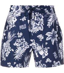 polo ralph lauren short de natação floral - azul