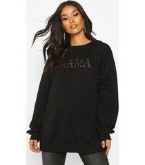 zwangerschaps luipaardprint mama sweater, black