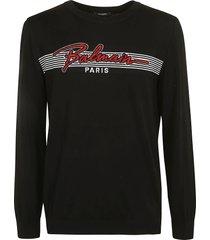 balmain stripe logo embroidered sweatshirt