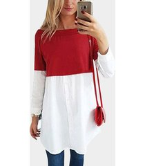 red off shoulder long sleeves single breasted design stitching t-shirt