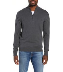 men's french connection stretch cotton quarter zip sweater, size x-large - grey