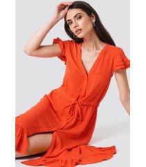 trendyol asymmetric button detailed maxi dress - orange