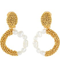 glass pearl chain contrast hoop clip earrings