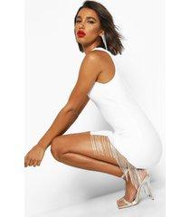 bandage diamante trim bodycon mini dress, white