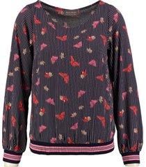 amélie & amélie polyester blouse met sweater boorden valt kleiner