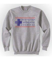 logo only grey sloan memorial hospital greys anatomy crewneck sweatshirt s.grey