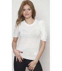 blusa ajustada manga corta blanca 609 seisceronueve