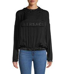 activewear silk logo blouson hoodie
