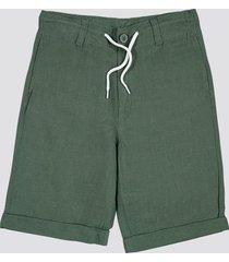 shorts i linne- och bomullsblandning - grön