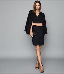 reiss hartley sleeveless dress - tailored v-neck dress in navy, womens, size 14