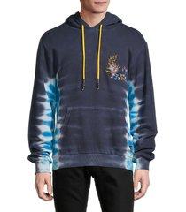 eleven paris men's embroidered tie-dye hoodie - blue - size m