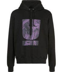 undercover graphic jersey hoodie - black