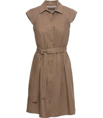 abito in misto lino con bottoni (marrone) - bodyflirt