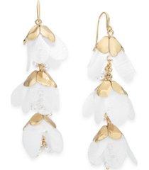 inc gold-tone & imitation pearl chiffon flower linear drop earrings, created for macy's