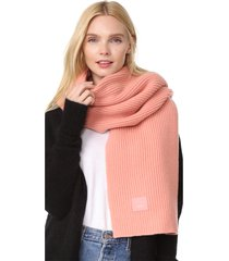 women's 100% wool bansy l face emoticon patch wool rib knit scarf in pale pink