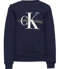 monogram logo sweatshirt sweat-shirt trui blauw calvin klein