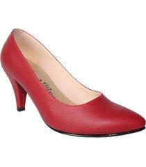 zapato cerrado   tacon mediano   rojo sintetico     wanted  674