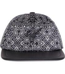 giuseppe zanotti cohen bandana-print baseball cap - black
