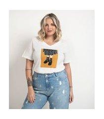 blusa manga curta em algodão estampa quadro curve & plus size | ashua curve e plus size | branco | gg