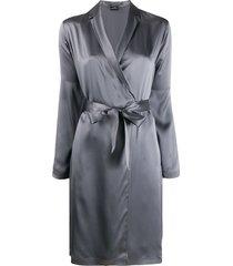 la perla belted silk robe - grey