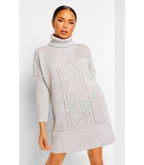 grof gebreide trui jurk met col, grey