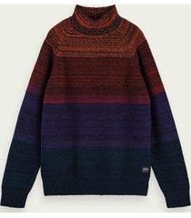 scotch & soda trui van een wolmix met hoge hals en kleurovergang