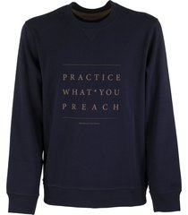 brunello cucinelli crewneck cotton sweatshirt with writing