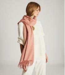 reiss jen - wool cashmere blend oversized scarf in pink, womens