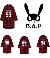 kpop bap shirt live on earth awake red plaid b.a.p unisex three-quarter tshirt