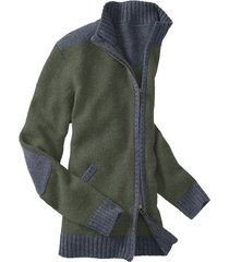 bicolor-gebreide jas uit bio-scheerwol, salie xxl