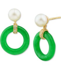 cultured freshwater pearl (6mm), jade (15mm) & diamond accent drop earrings in 14k gold-plated sterling silver